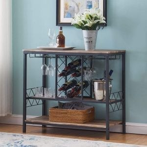 Wine Rack Table with Glass Holder, Wine Bar Cabinet